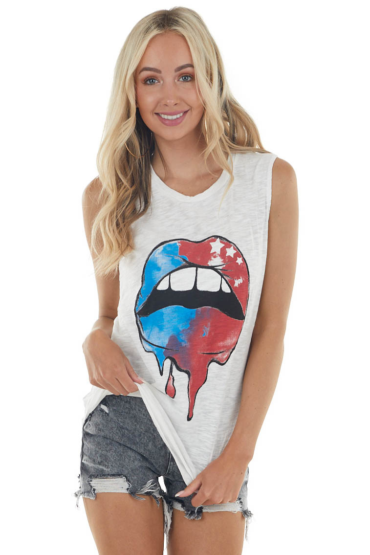 Off White Sleeveless Patriotic Lip Graphic Muscle Tank Top