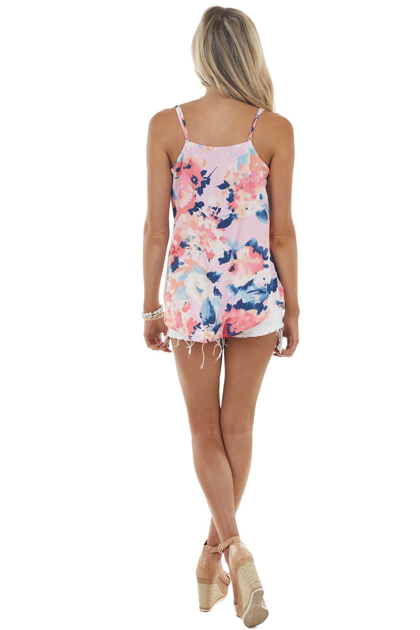Coral Floral Print Sleeveless Top with V Neckline