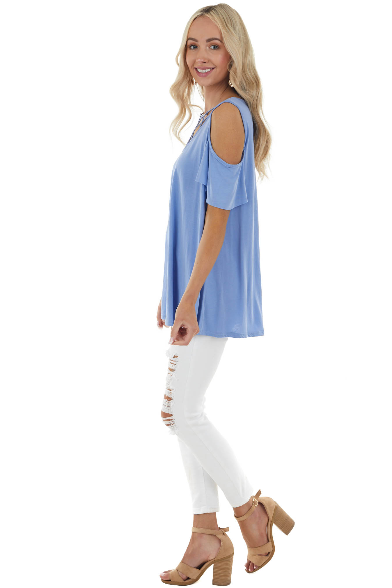 Cornflower Blue Knit Top with Cut Out Sleeves and Caged Neck