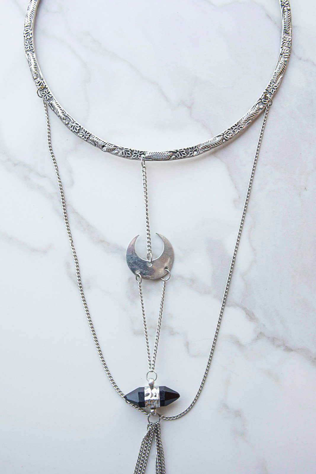 Antique Silver Choker Body Chain with Moon and Stone Charm