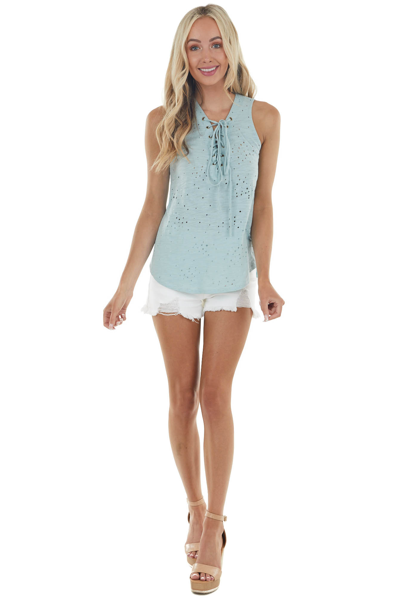 Seafoam Sleeveless Top with Front Tie and Distressed Holes
