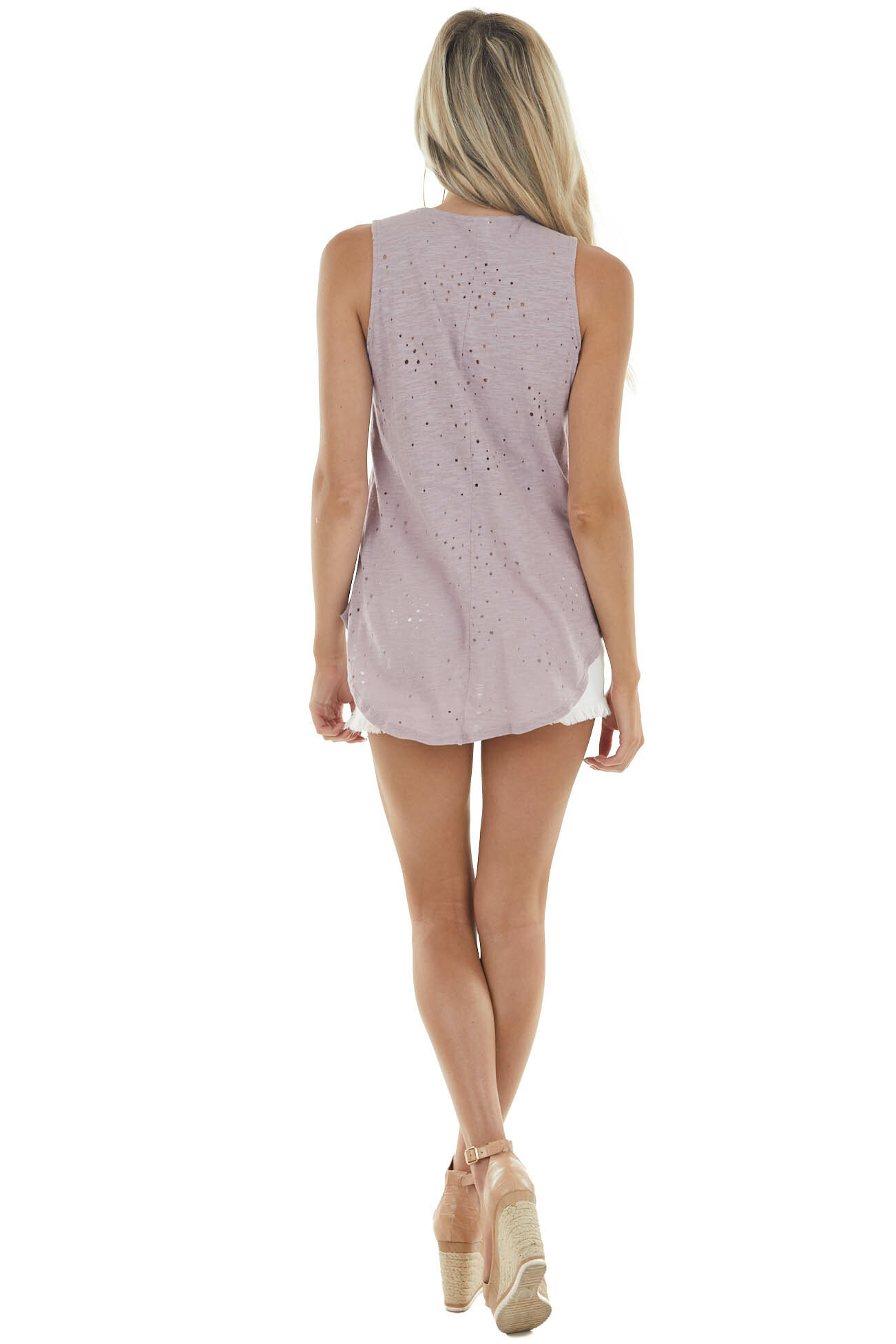 Mauve Sleeveless Top with Front Tie and Distressed Holes