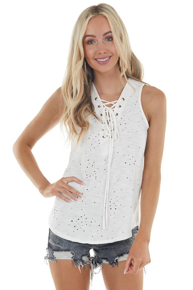 Off White Sleeveless Top with Front Tie and Distressed Holes