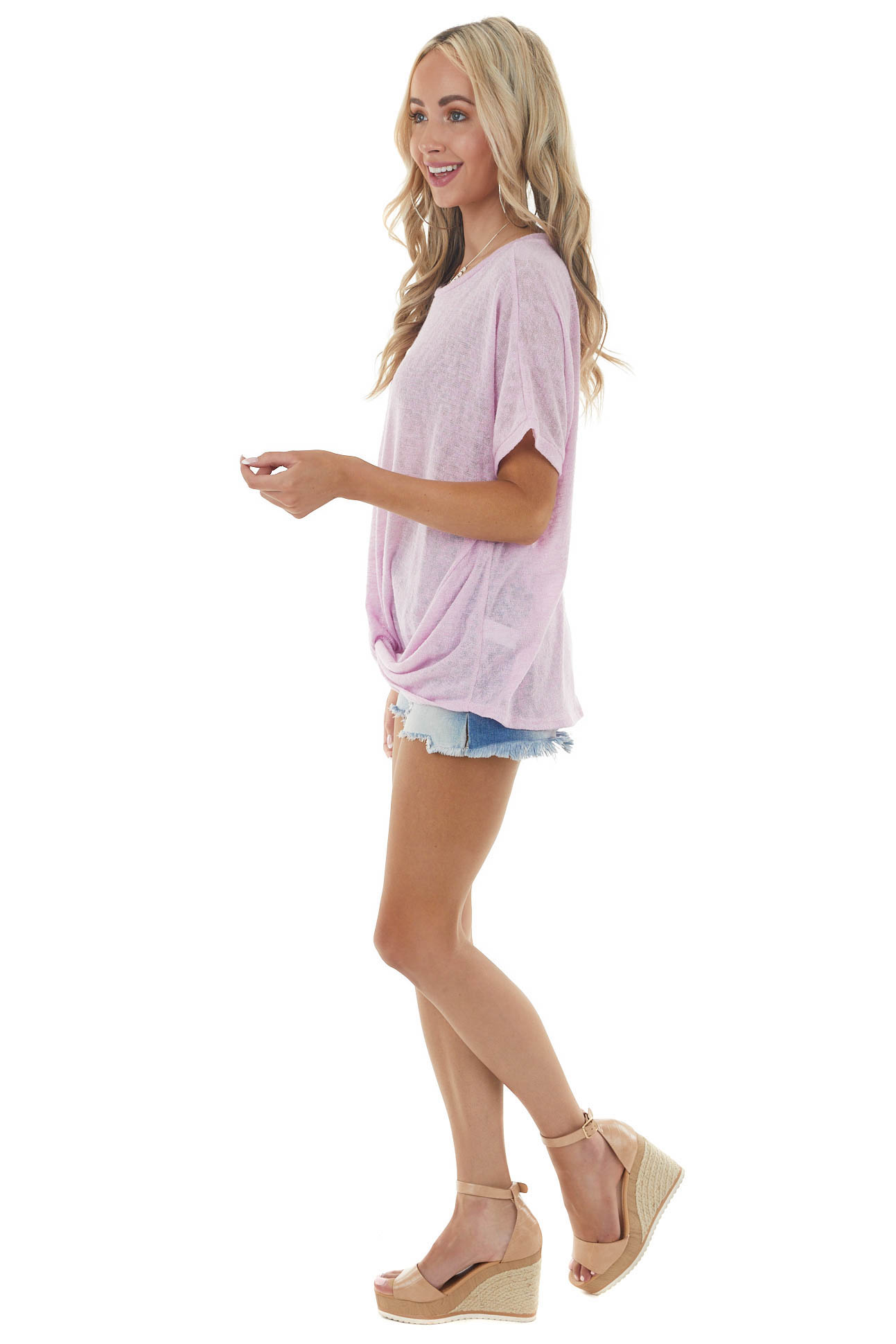 Dusty Blush Short Sleeve Loose Knit Top with Front Knot