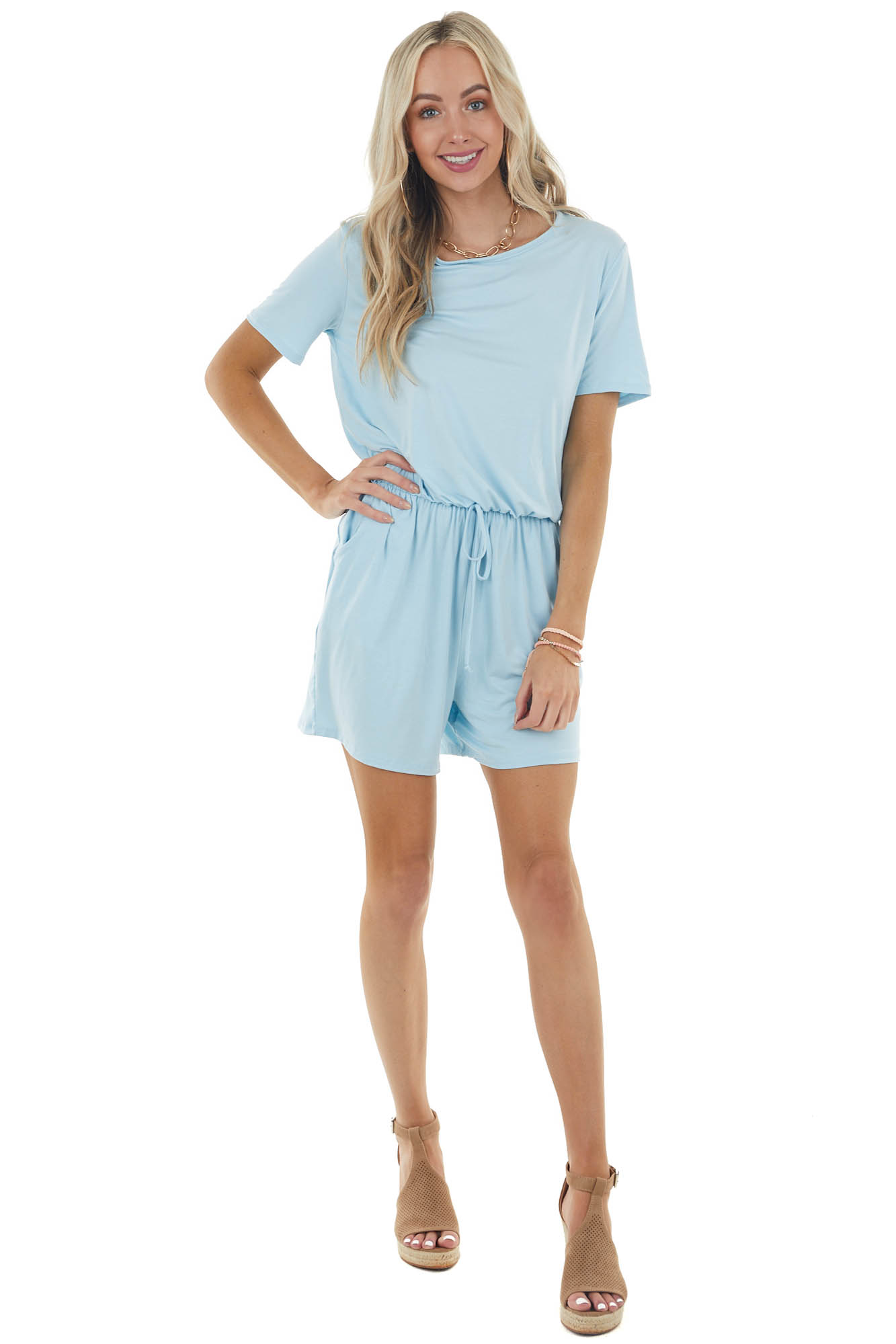 Baby Blue Short Sleeve Knit Romper with Elastic Waistband
