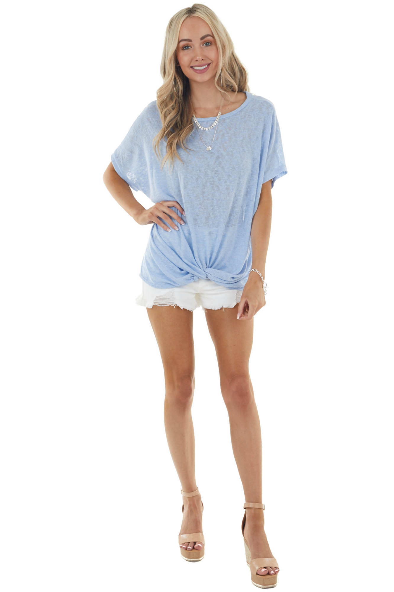 Powder Blue Short Sleeve Loose Knit Top with Front Knot