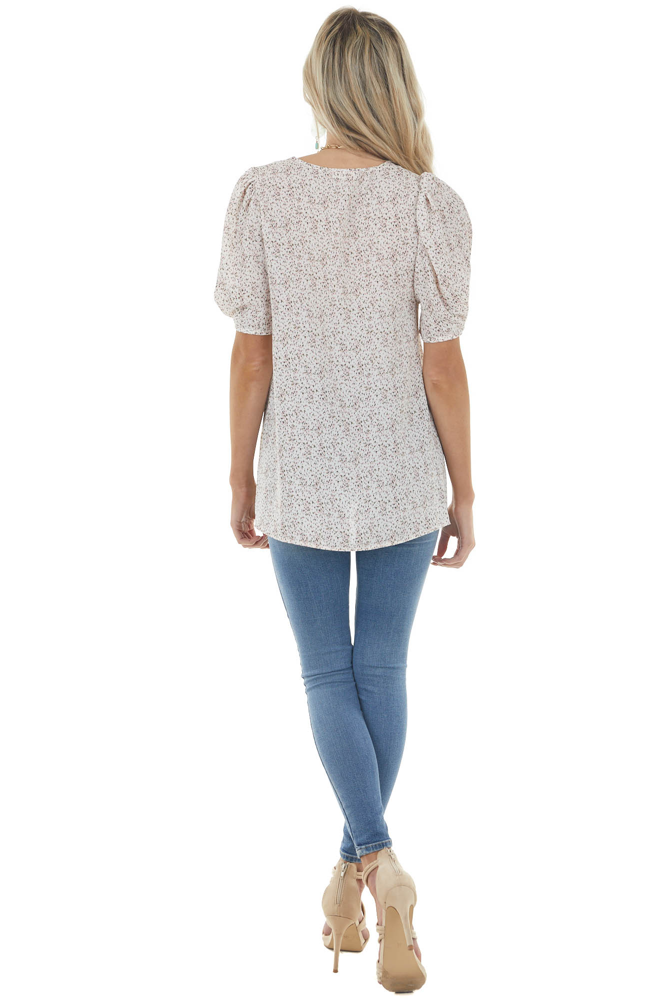 Off White Ditsy Floral Blouse with Short Bubble Sleeves