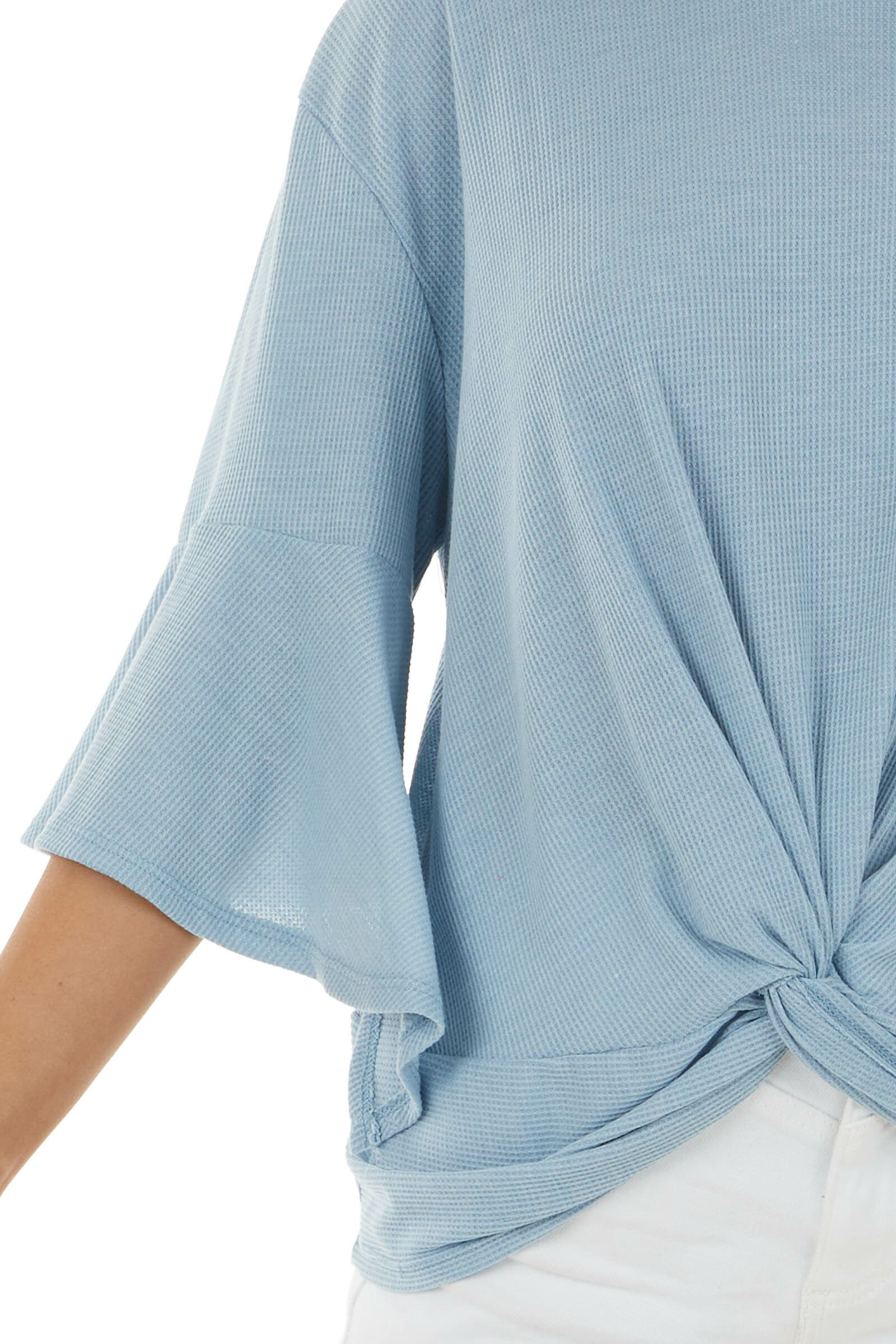 Powder Blue Flare Sleeve Ribbed Knit Top with Front Knot
