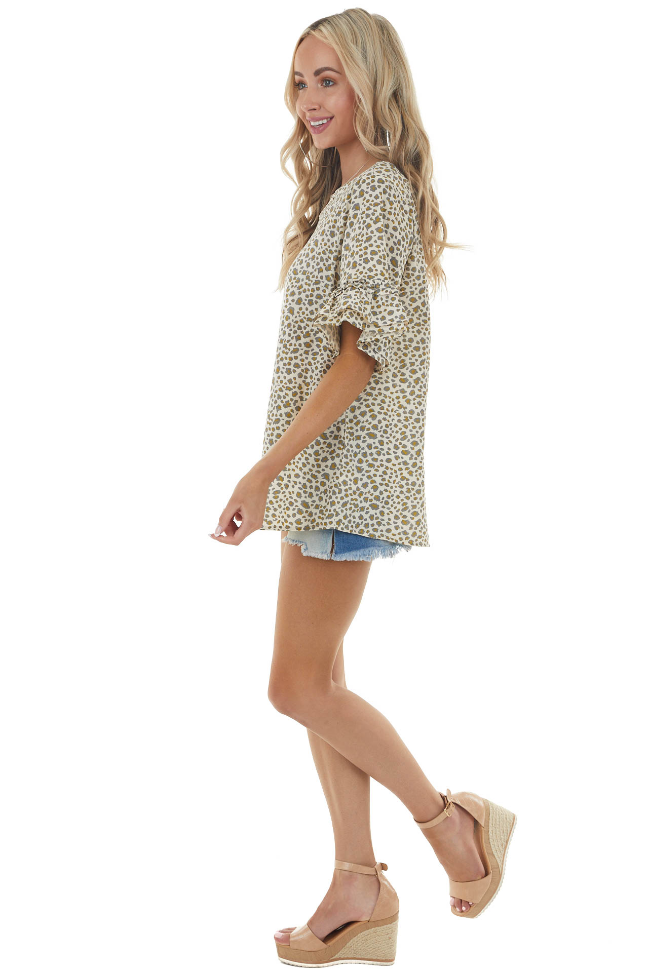 Sand Leopard Print Top with Short Flare Sleeves