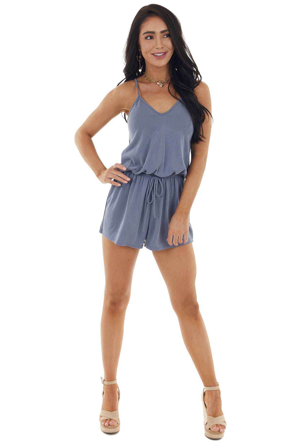 Slate Spaghetti Strap Romper with Back Criss Cross Detail