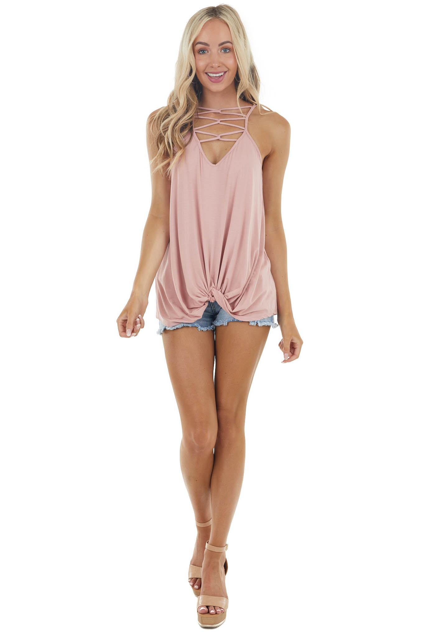 Cherry Blossom Sleeveless Strappy Neck Knit Top with Knot