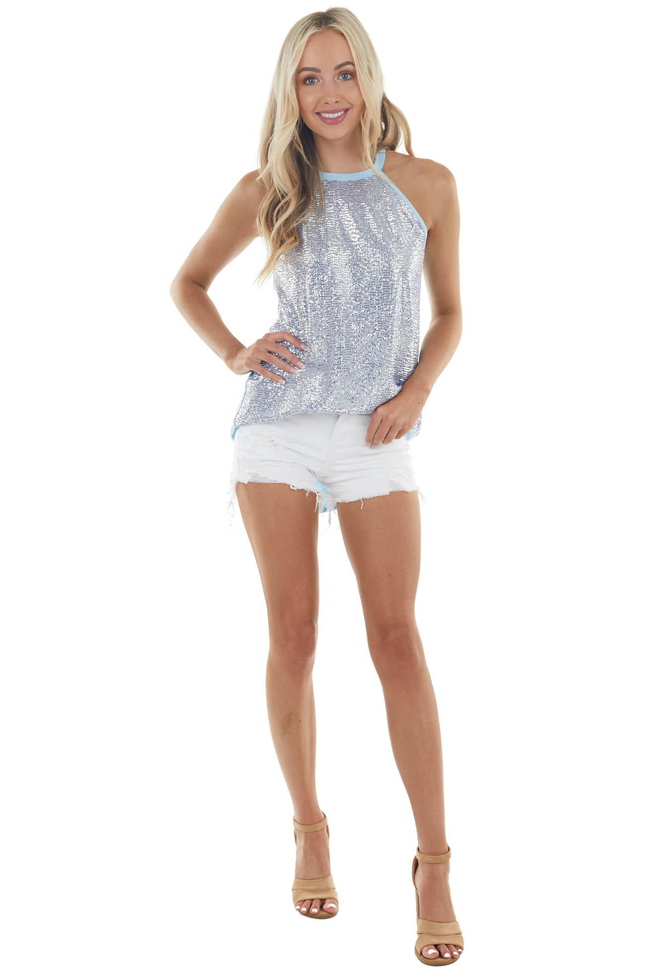 Baby Blue and Slate Mini Sequined Sleeveless Knit Halter Top