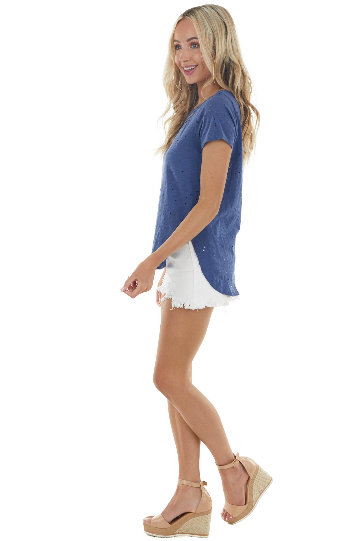 Navy Blue Short Sleeve Distressed Top with Caged Neck