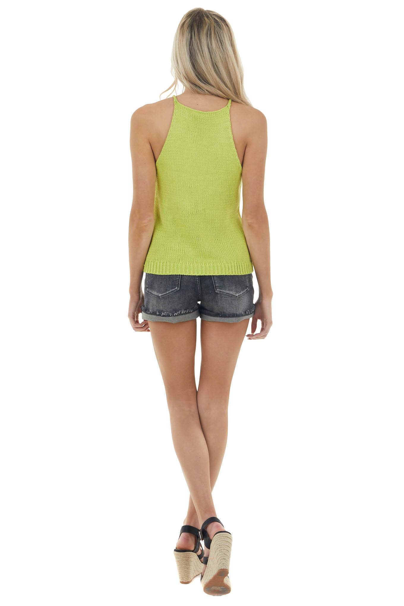 Lime Stretchy Cable Knit Sleeveless Halter Neckline Top