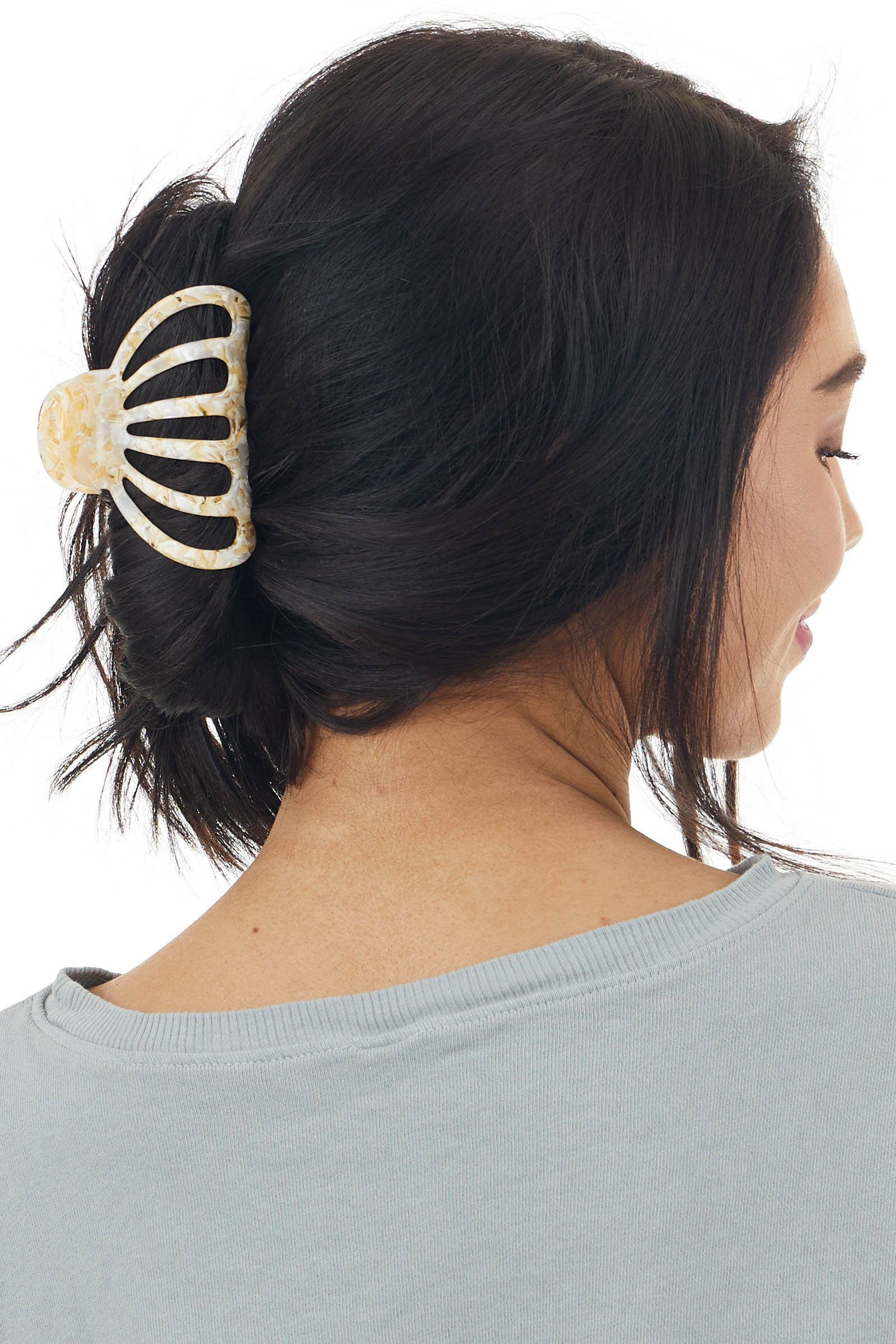 Pale Yellow and Ivory Quartz Acetate Large Claw Hair Clip