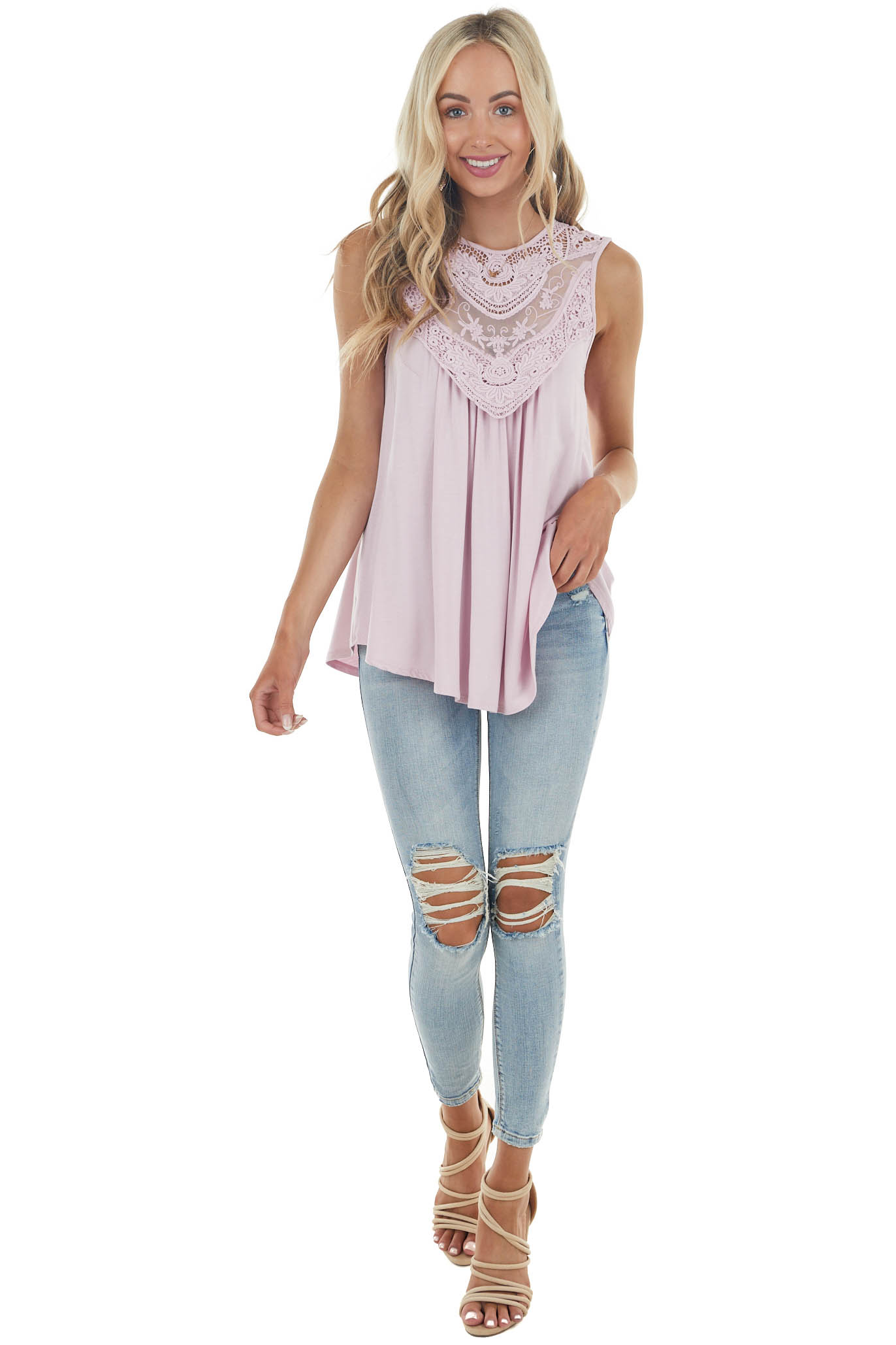 Dusty Blush Flowy Sleeveless Top with Sheer Crochet Detail