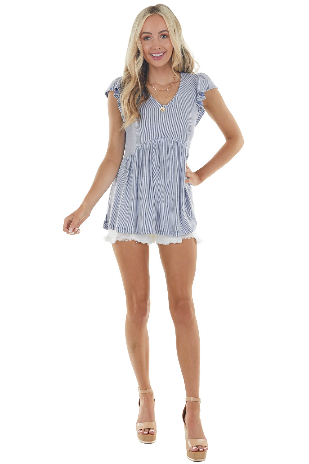 Denim Blue Striped Babydoll Top with Ruffle Cap Sleeves