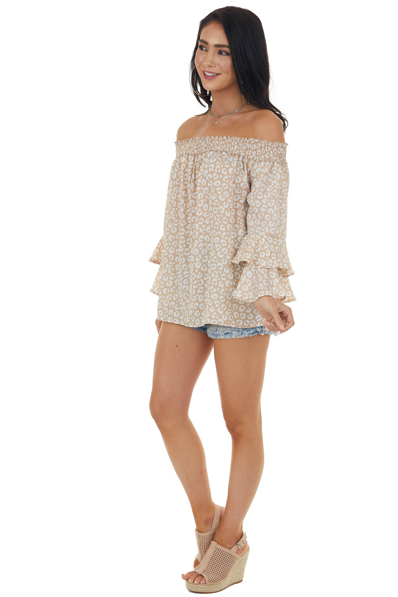 Champagne and Ivory Leopard Print Off the Shoulder Blouse