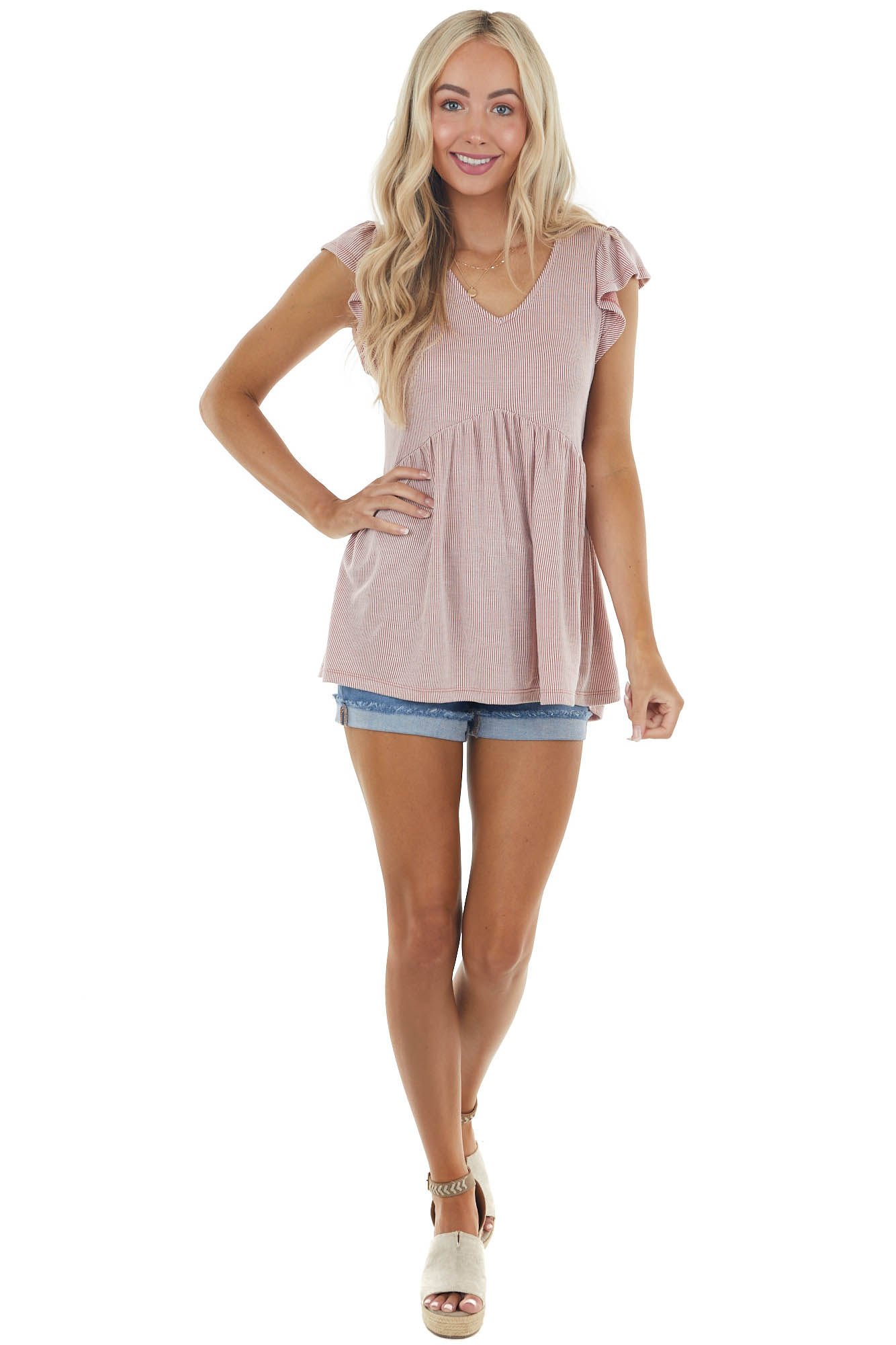 Terracotta Striped Babydoll Top with Ruffle Cap Sleeves