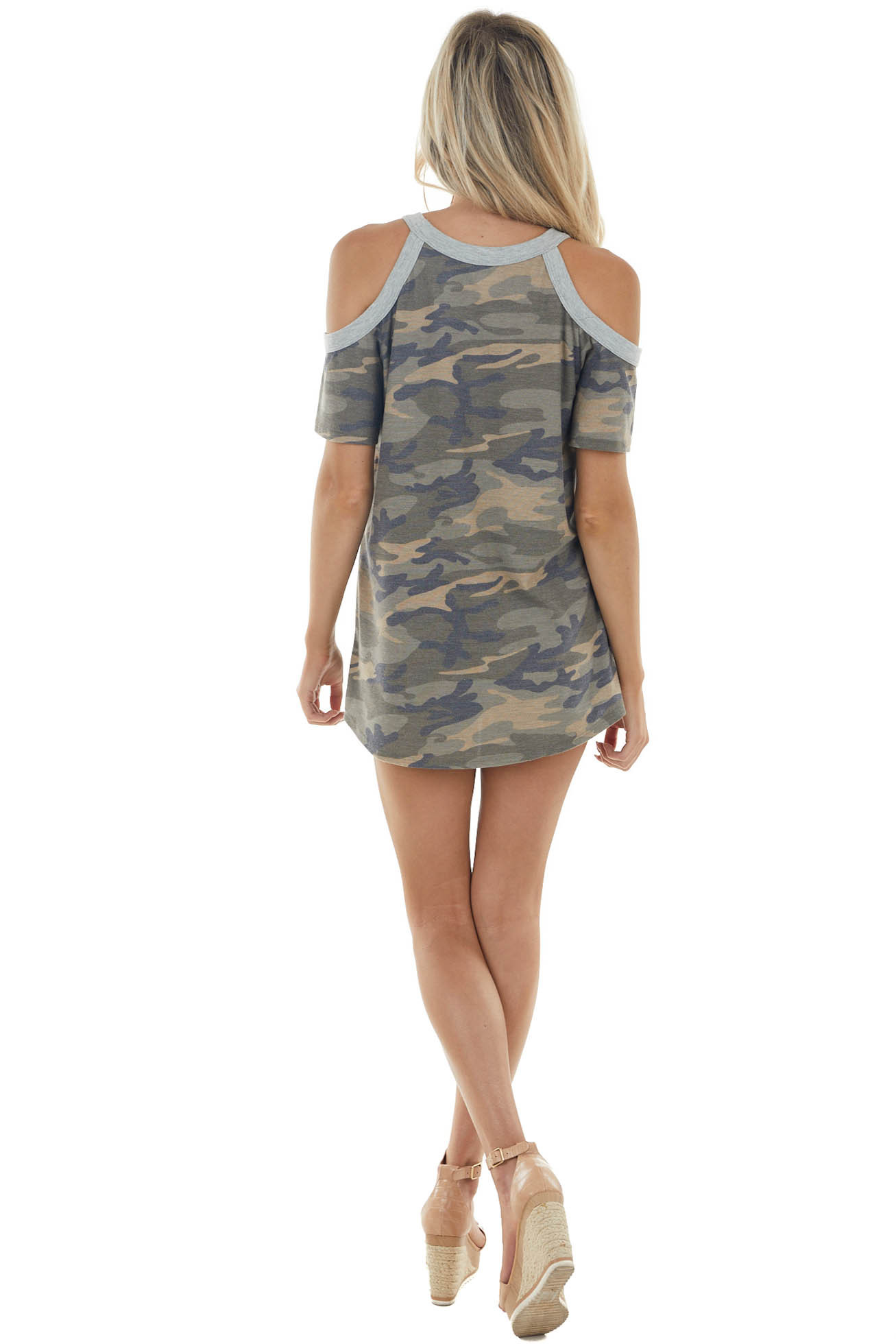Army Green Camo Print Short Sleeve Cold Shoulder Knit Top