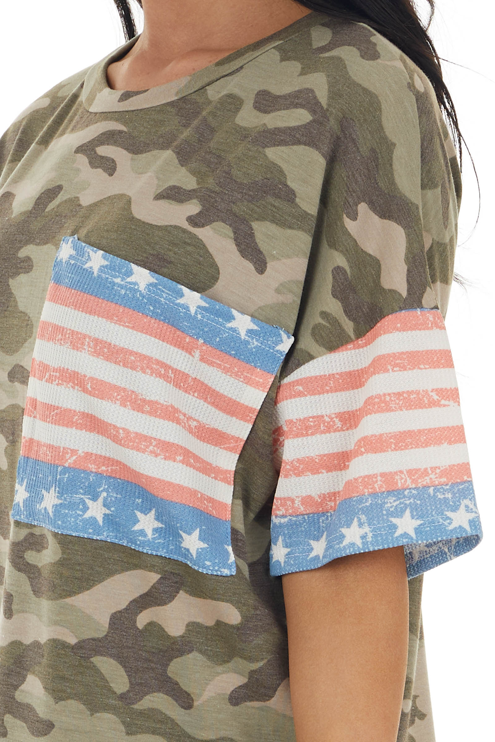 Camo Print Short Sleeve Knit Top with American Flag Contrast