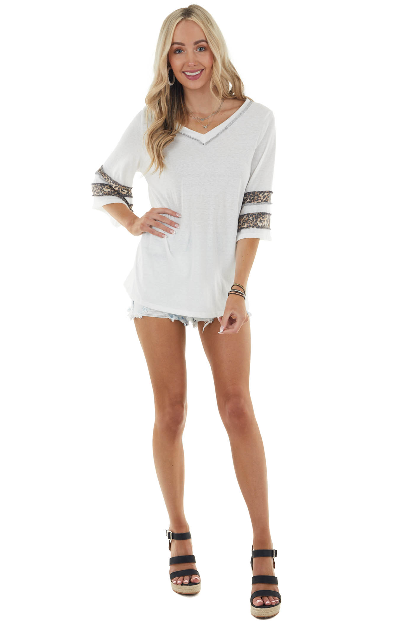 Off White Leopard 3/4 Sleeve Knit Top with Outseam Details