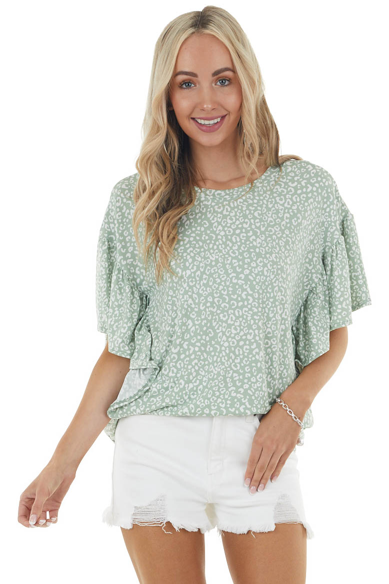 Dark Sage Leopard Print Knit Top with Short Ruffle Sleeves