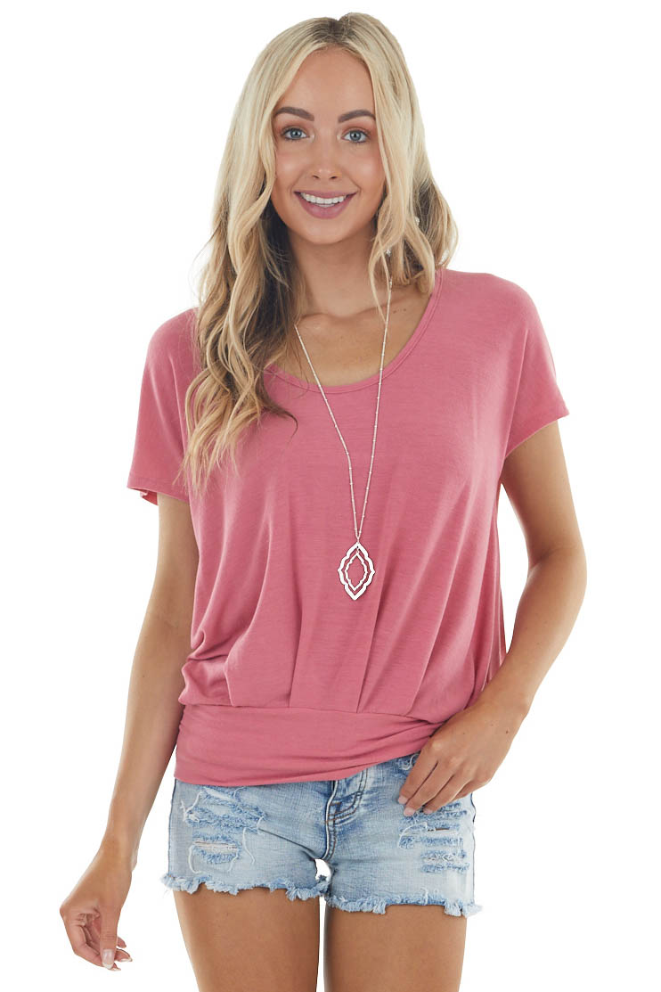 Light Hibiscus Open Back Soft Knit Top with Banded Hemline