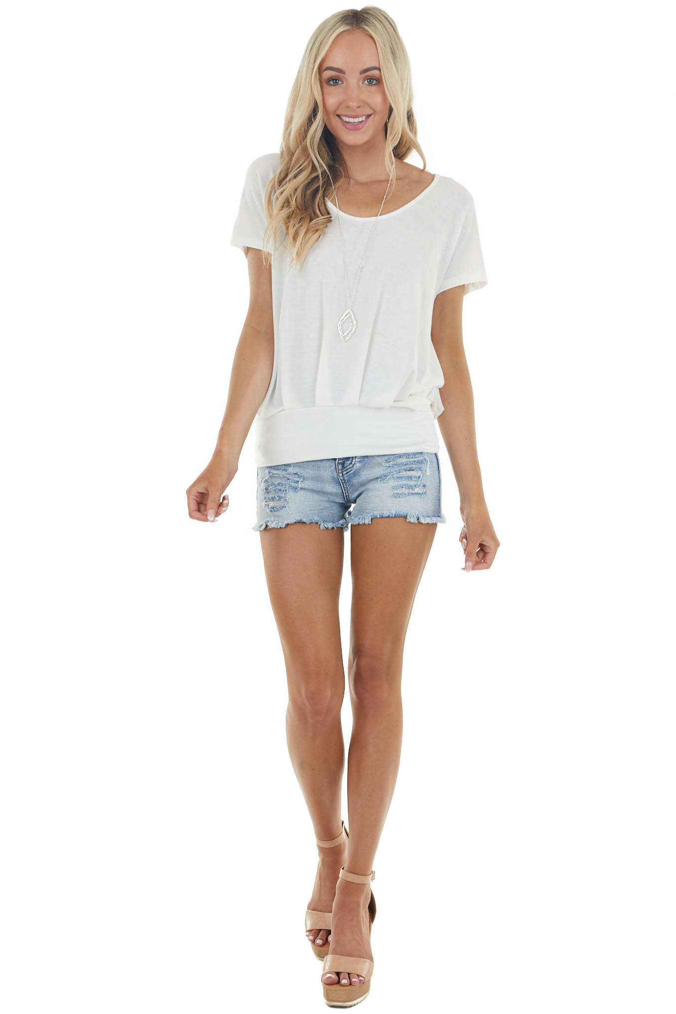 Off White Open Back Soft Knit Top with Banded Hemline