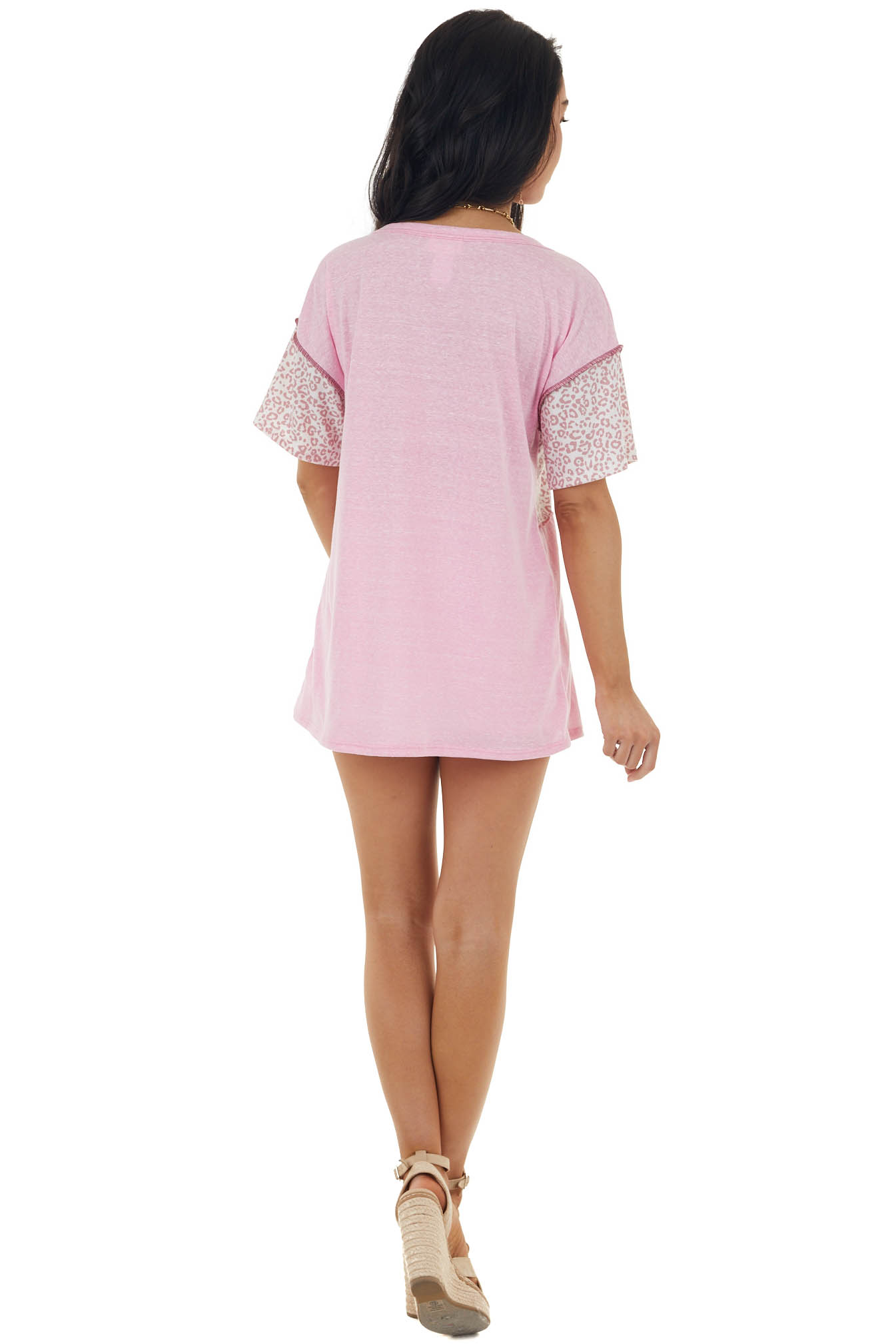 Carnation Pink Leopard Print Knit Top with Outseam Details