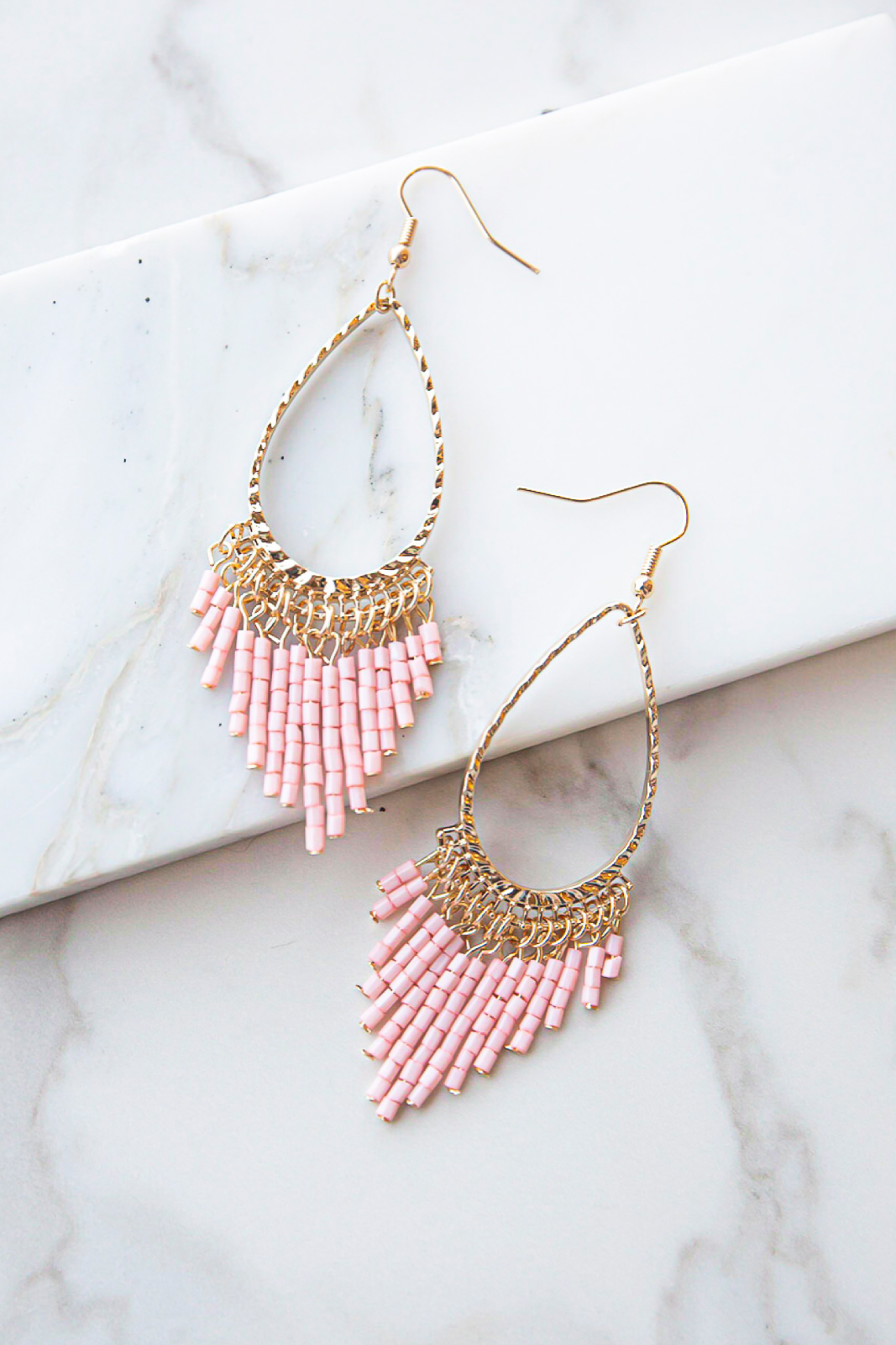 Gold and Baby Pink Teardrop Seed Bead Dangle Earrings
