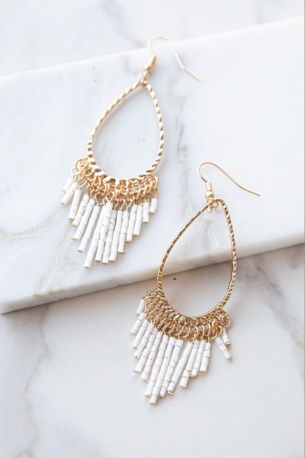 Gold and Off White Teardrop Seed Bead Dangle Earrings