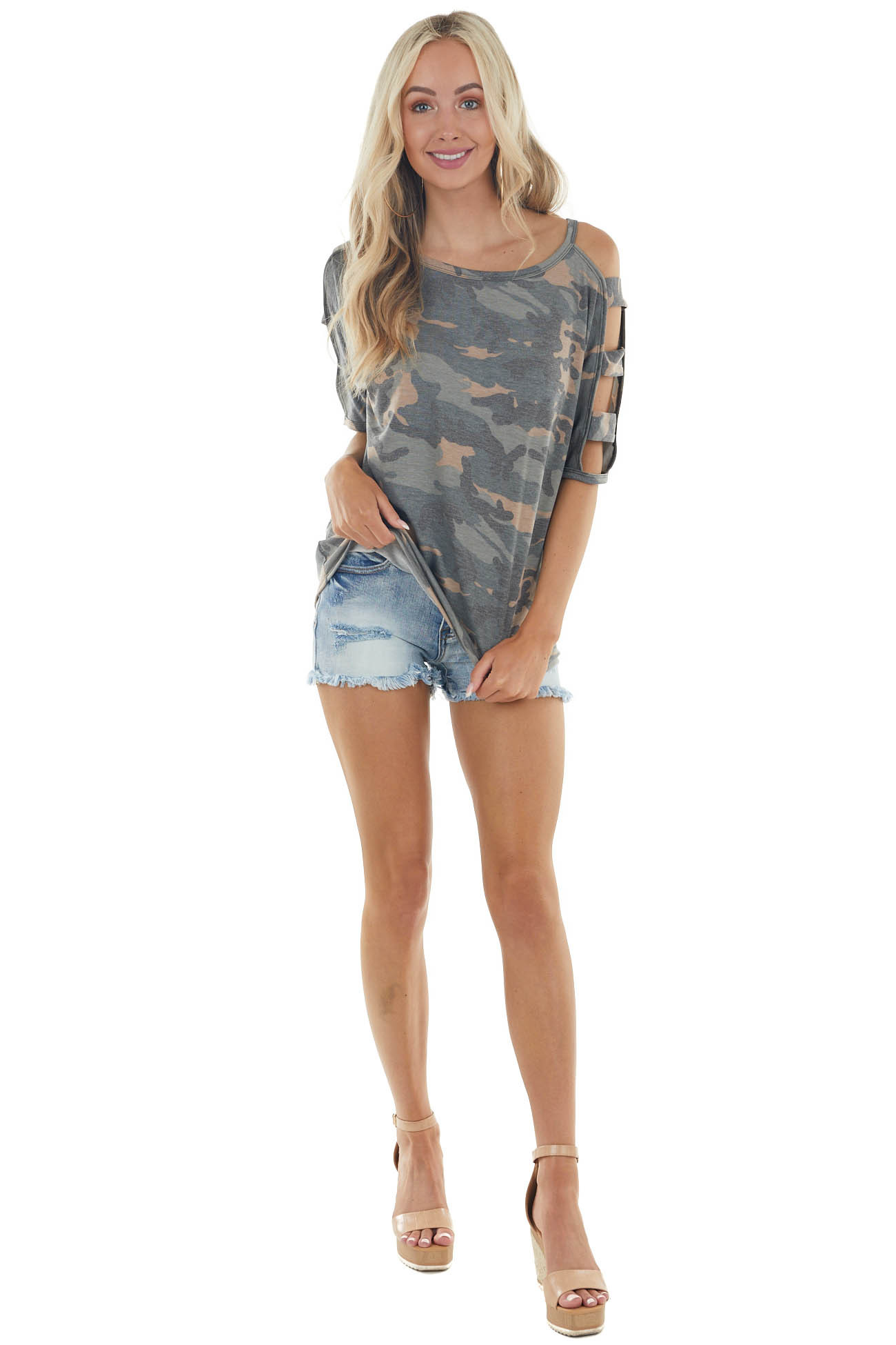 Camo Print Knit Top with Short Banded Cut Out Sleeves