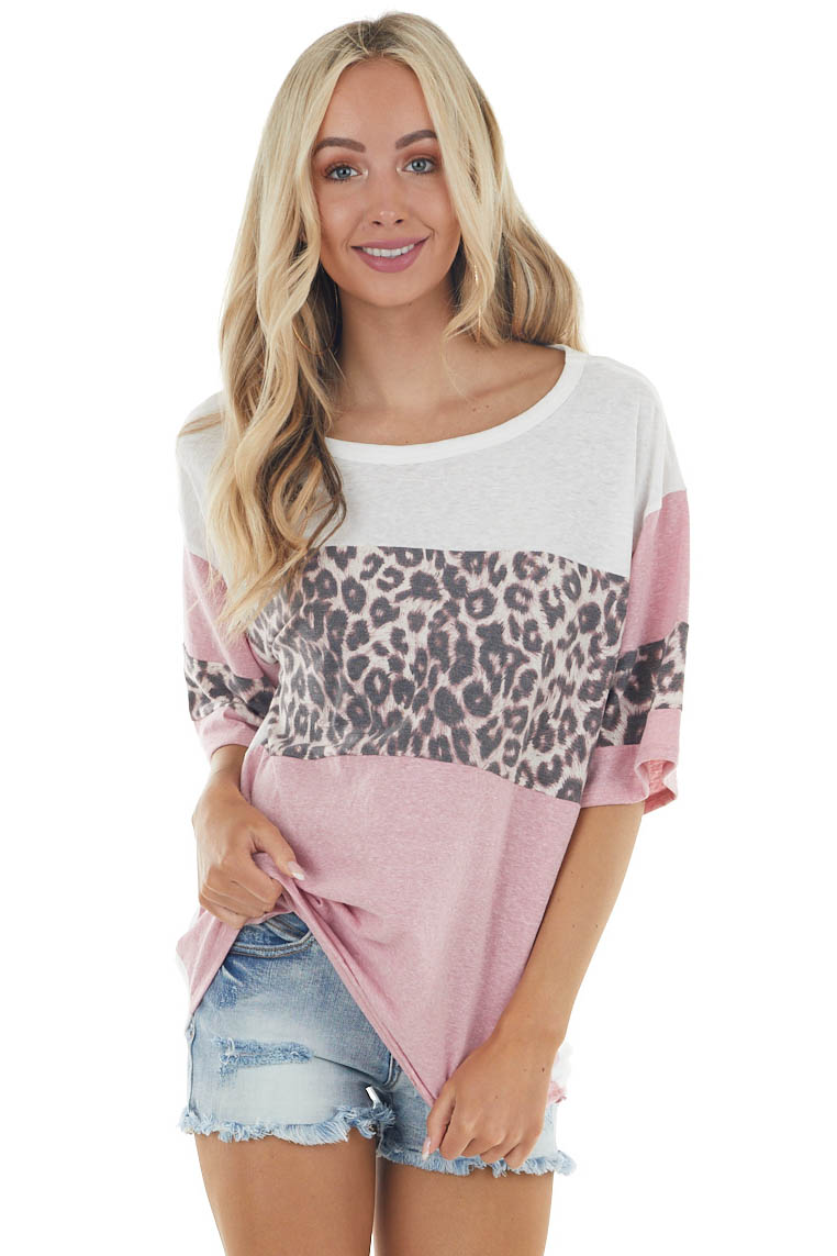 Dusty Blush Leopard Colorblock Half Sleeve Knit Top