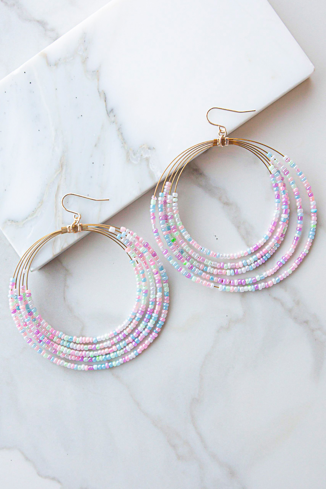 Pastel Multicolor Seed Bead Layered Dangle Hoop Earrings