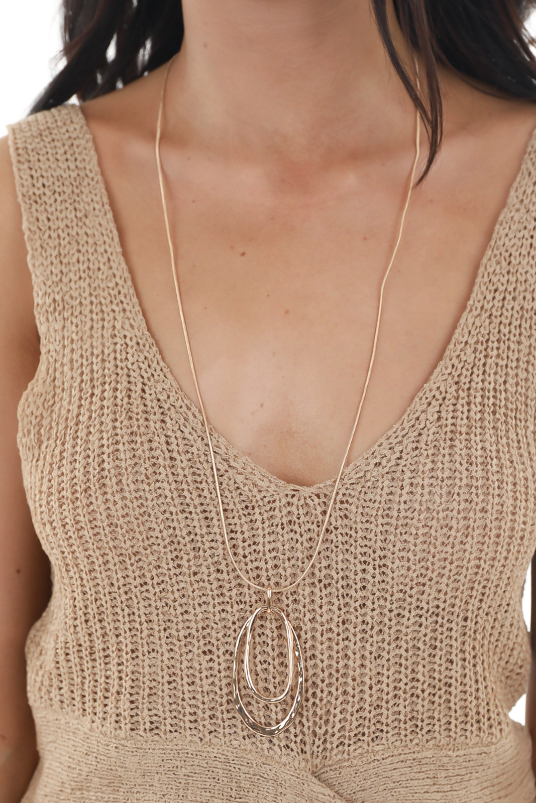 Gold Snake Chain Long Necklace with Double Oval Pendant