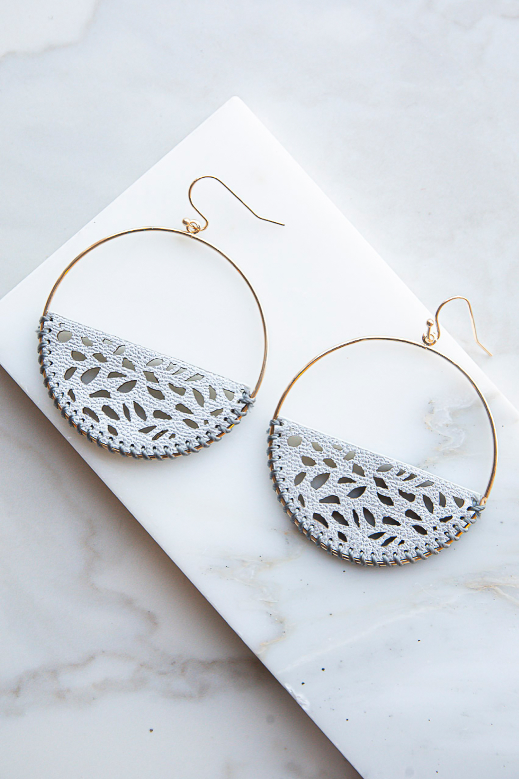 Grey Faux Leather Earrings with Laser Cut Out Details