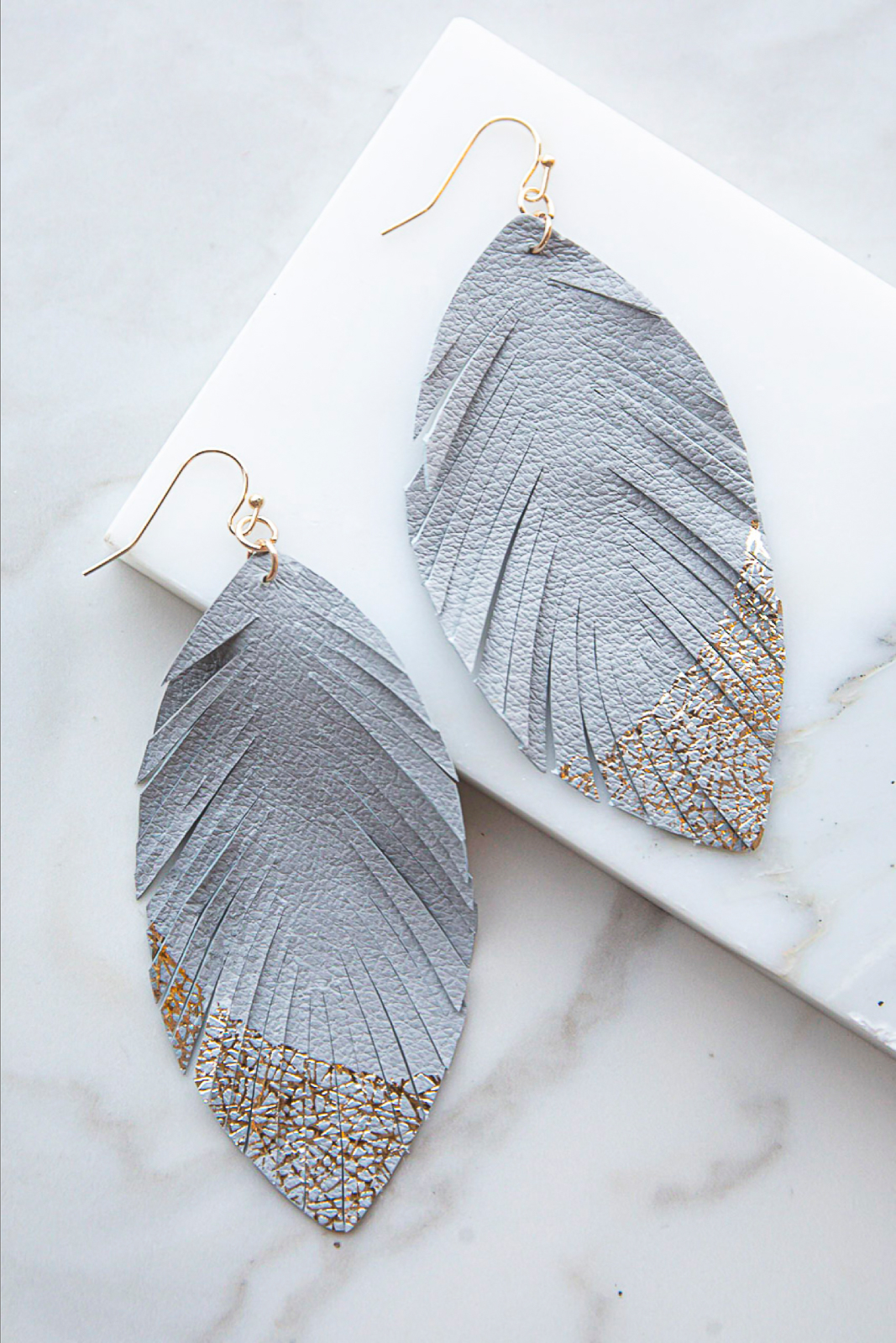 Steel Grey Feather Shaped Earrings with Gold Shimmer Details