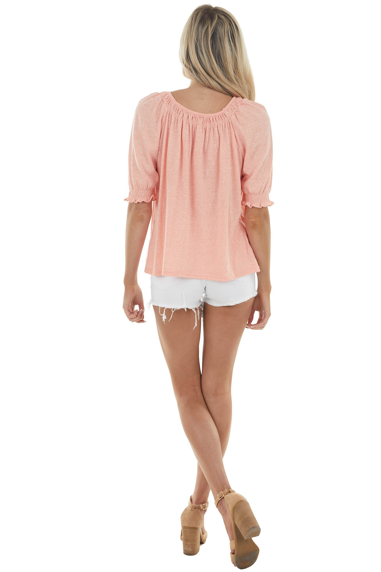 Coral Two Tone Short Sleeve Top with Ruffle Details
