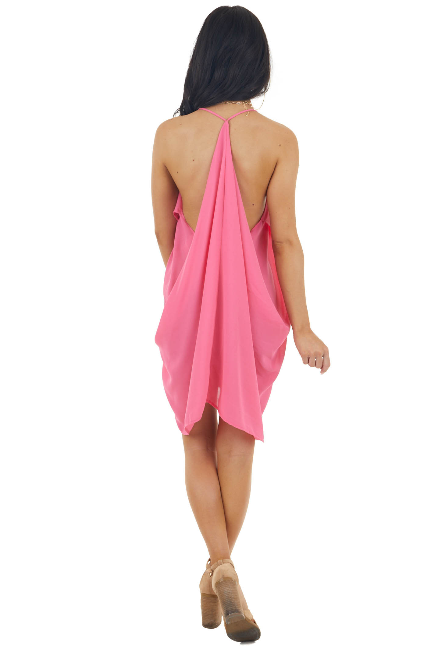 Strawberry Short Dress with Ruffle Front and Draped Back