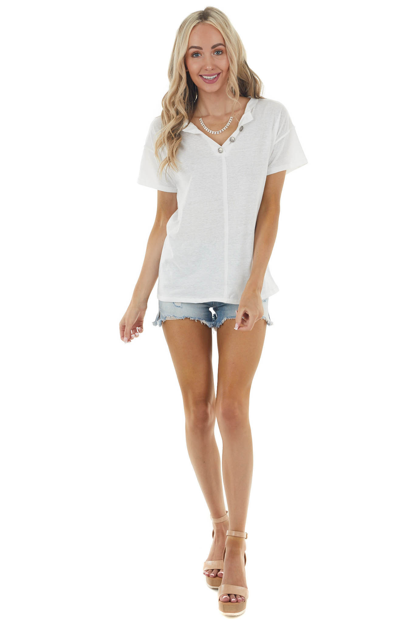 Ivory Short Sleeve V Neck Top with Button Detail
