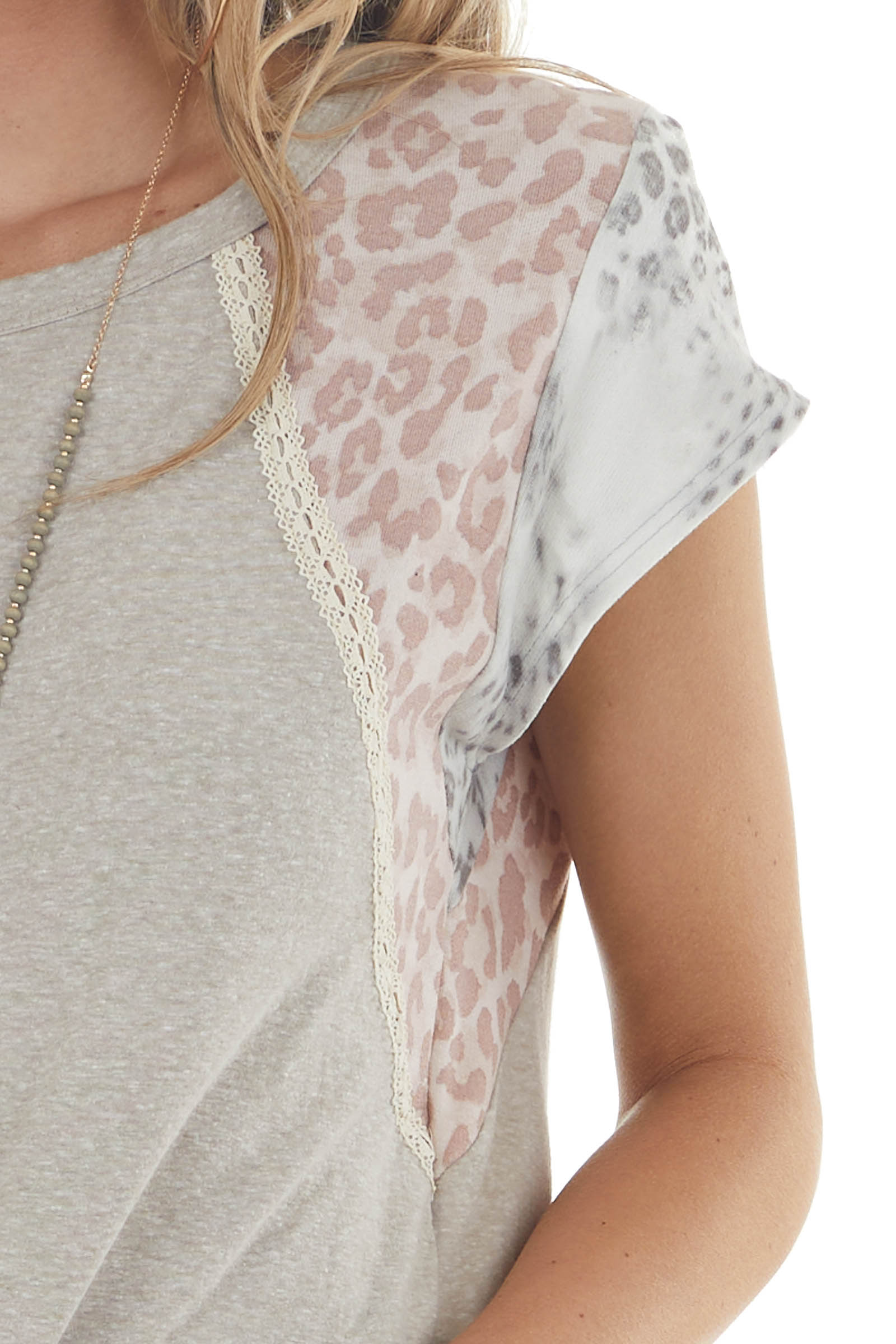 Oatmeal Leopard Print Short Sleeve Knit Top with Lace Detail