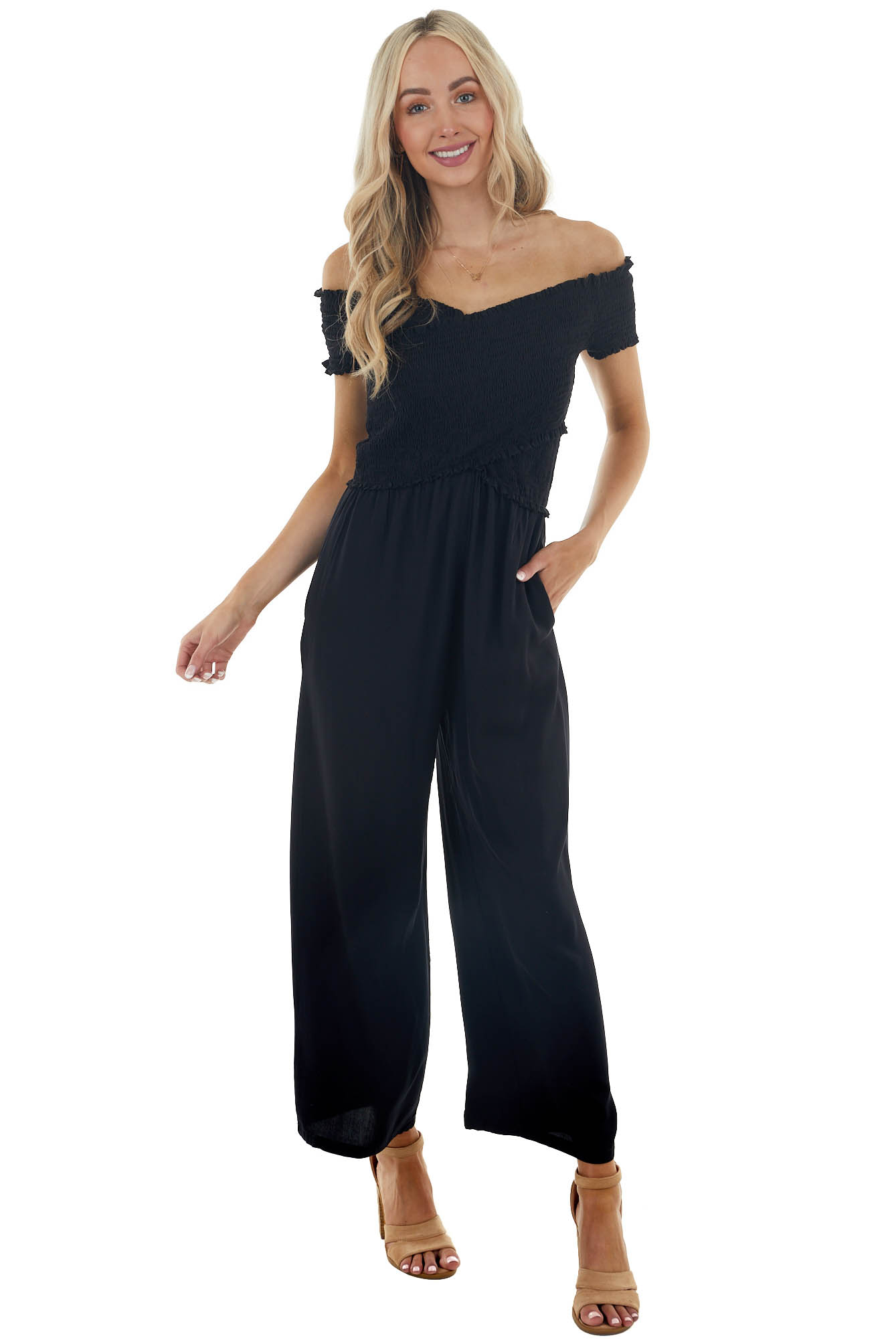 Black Off the Shoulder Jumpsuit with Layered Bodice
