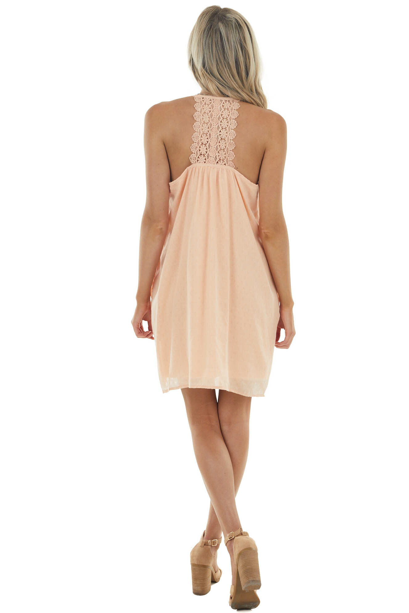 Peach Woven Sleeveless Short Dress with Lace Details