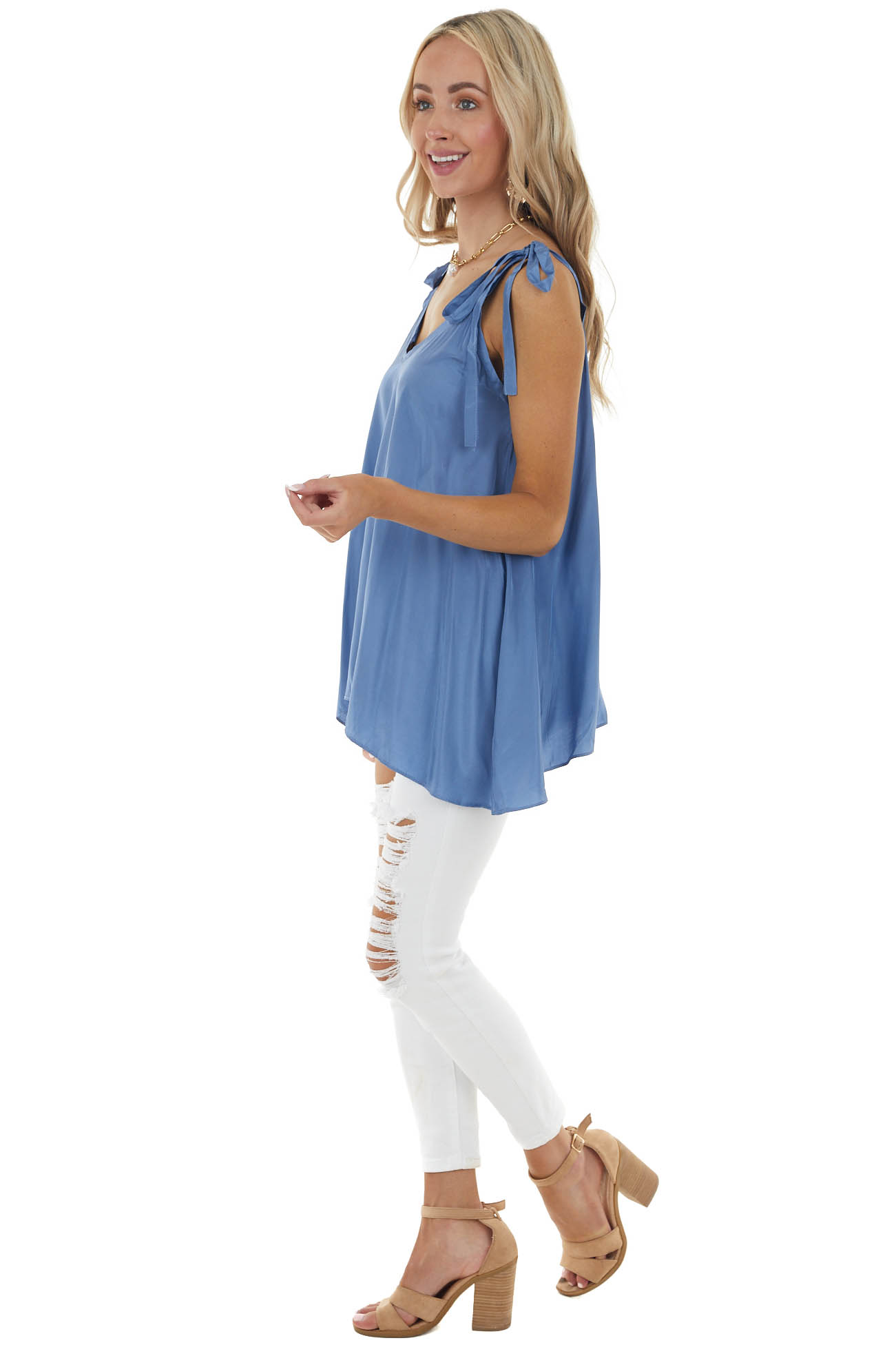 Dusty Blue Sleeveless Woven Satin Blouse with Tie Straps