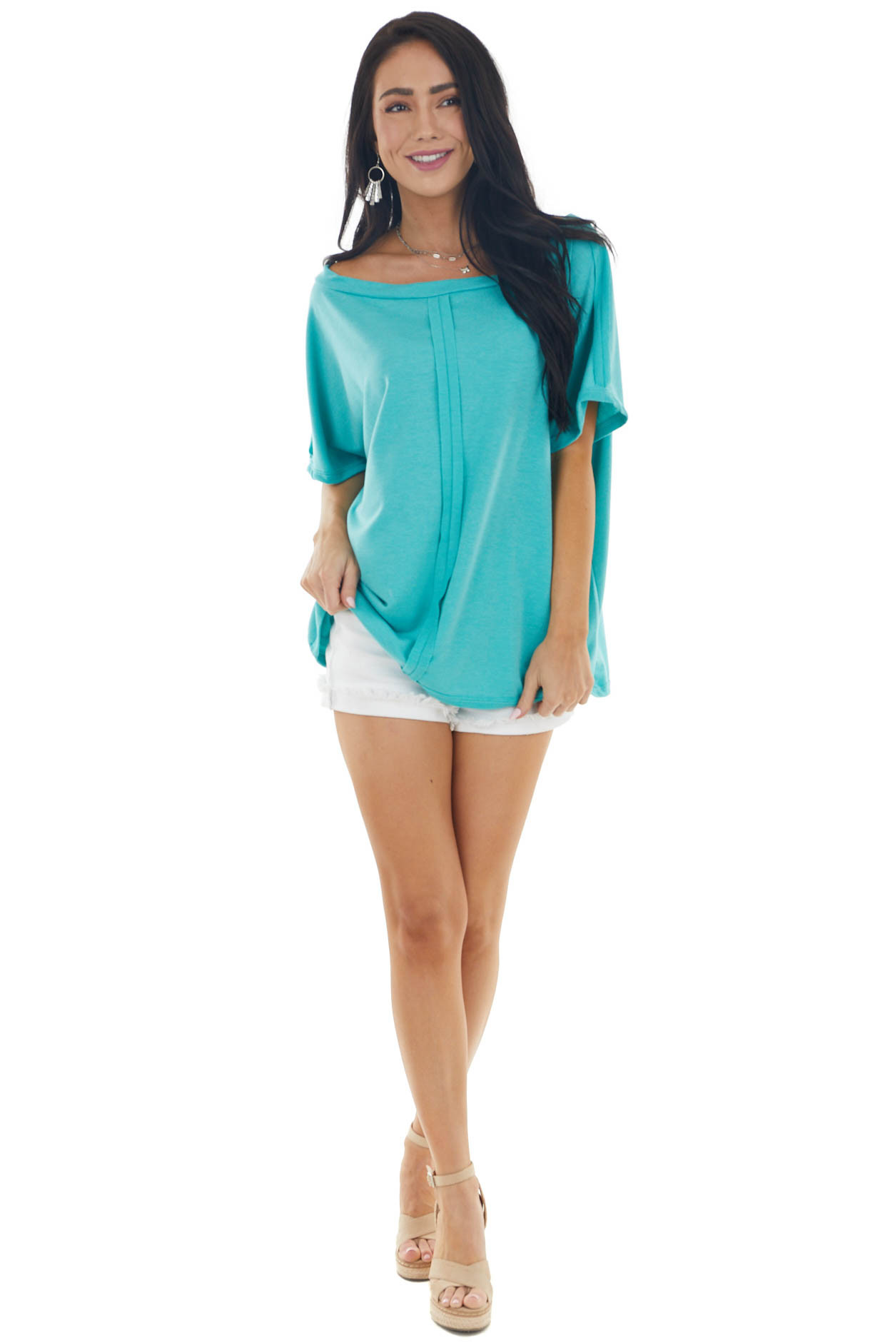 Teal Half Sleeve Knit Top with Raw Edge Seam Detail