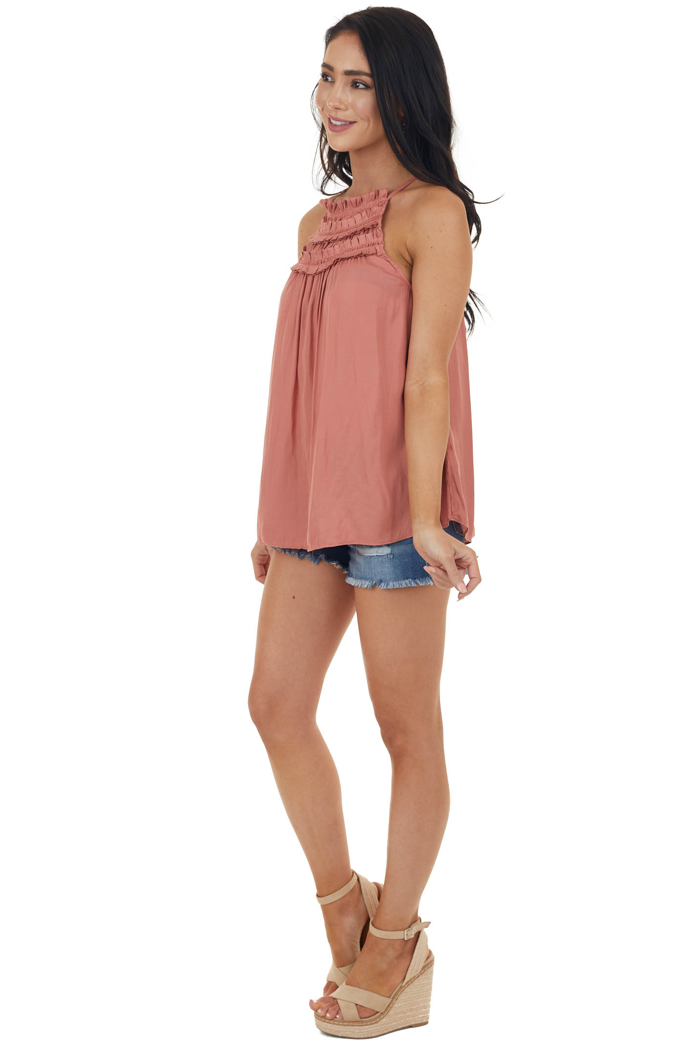 Terracotta Frilled Peekaboo Halter Neck Blouse with Keyhole