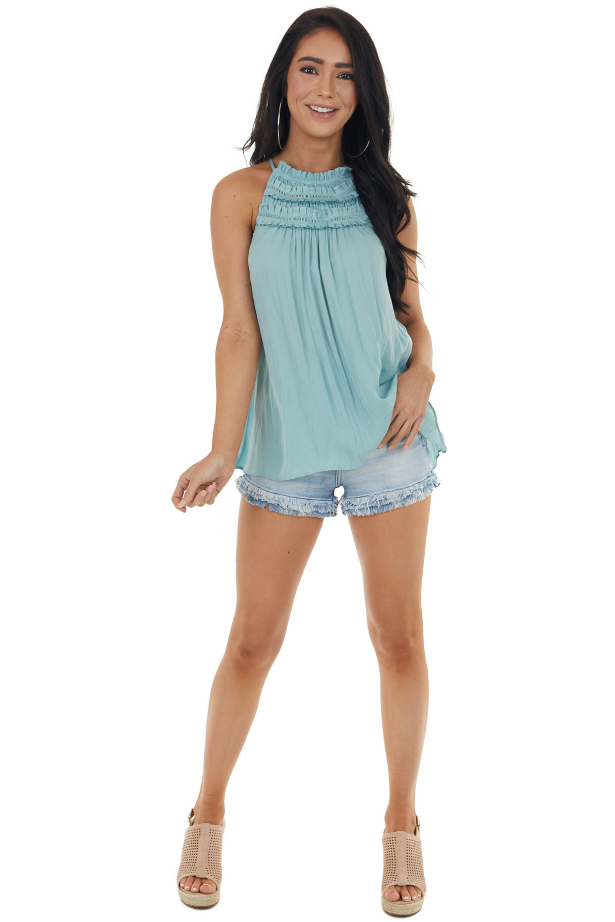 Pale Teal Frilled Peekaboo Halter Neck Blouse with Keyhole