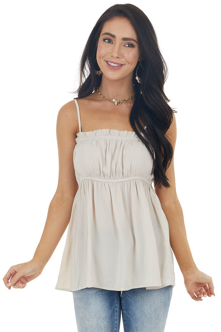 Champagne Sleeveless Satin Tank Top with Ruffle Detail