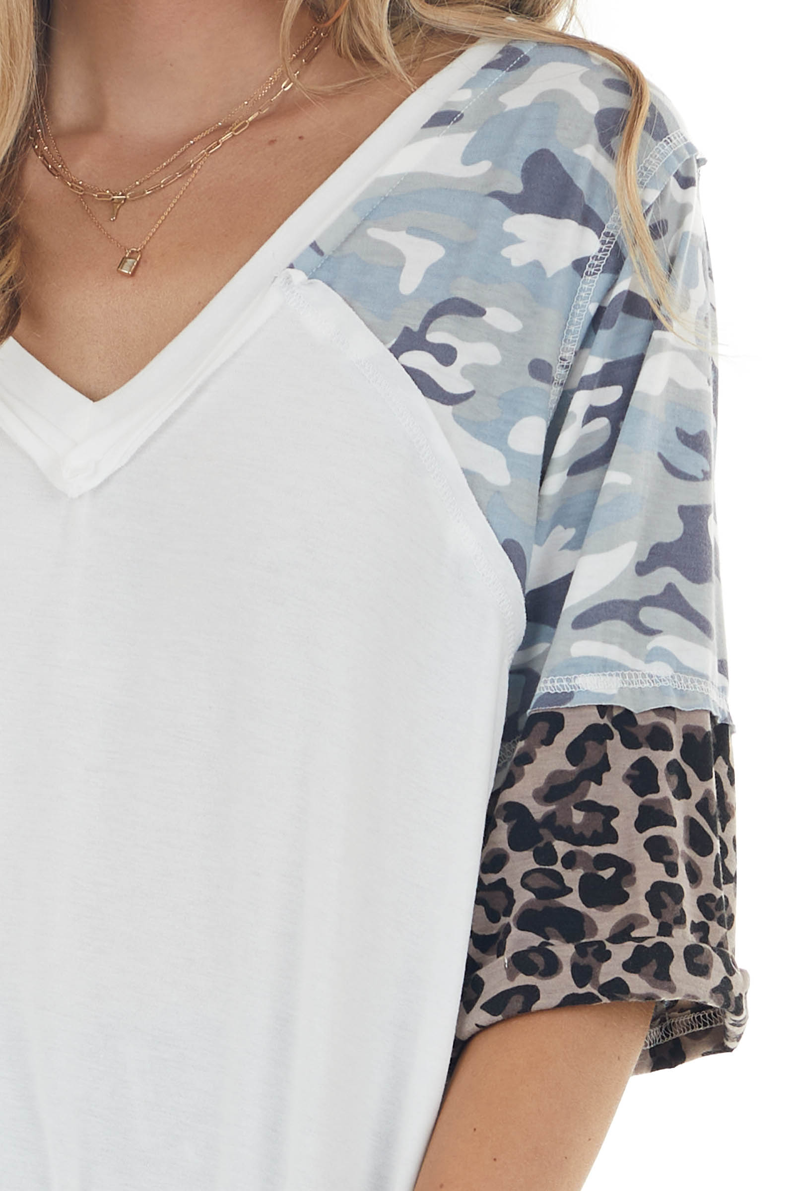 Ivory Super Soft Knit Top with 3/4 Length Multiprint Sleeves